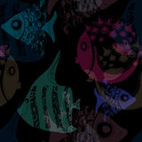 Seamless texture with hand drawn fish. Dark royalty free illustration