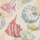 Seamless texture with hand drawn fish. Light background royalty free illustration