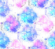 Seamless texture with hand drawn ice cubes and watercolor splashes. royalty free illustration