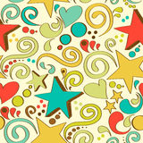Seamless texture with hand drawn stars, hearts and swirls. Vector illustration stock illustration