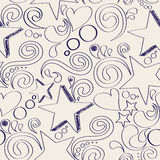 Seamless texture with hand drawn stars, hearts and swirls. Vector illustration Royalty Free Stock Photo