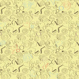 Seamless texture with hand drawn stars, hearts and swirls. Vector illustration Royalty Free Stock Image