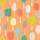 Seamless texture with hand drawn trees. Endless hand drawn autumn pattern. Template for design textile, fabric, backgrounds. Royalty Free Stock Images