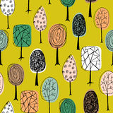 Seamless texture with hand drawn trees. Endless hand drawn autumn pattern. Template for design textile, fabric, backgrounds. Royalty Free Stock Image