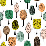 Seamless texture with hand drawn trees. Endless hand drawn autumn pattern. Template for design textile, fabric, backgrounds. royalty free illustration