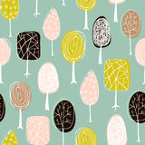 Seamless texture with hand drawn trees. Endless hand drawn autumn pattern. Template for design textile, fabric, backgrounds. vector illustration