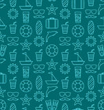Seamless Texture with Hand Drawn Vocation Objects and Icons Stock Images