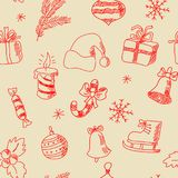 Seamless texture with hand-painted New Year elements Stock Photos