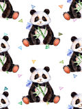 Seamless texture with handpainted watercolor elements, multicolored triangles and cute Panda Stock Photo