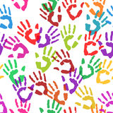 Seamless texture handprints. Vector Royalty Free Stock Photo