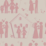 Seamless texture of happy family symbols. Background vintage Royalty Free Stock Images