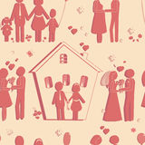 Seamless texture of happy family symbols. Love and wedding Stock Photography