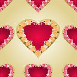 Seamless texture heart with roses gold background vector Stock Photography