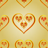 Seamless texture  heart vintage gold background vector Royalty Free Stock Photography