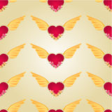 Seamless texture Heart with wings and roses vector Stock Photos