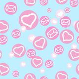 Seamless texture with hearts and envelopes. Texture with hearts and envelopes for design Stock Photography