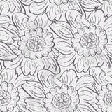 Seamless texture of hydrangea flowers. black contour Royalty Free Stock Photo