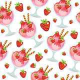 Seamless texture of ice cream dessert in a glass cup. Milk shake background. Kids Wallpaper sweet ice cream. Vector illustration.;. Seamless texture of ice cream Royalty Free Stock Photo