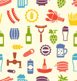 Seamless Texture with Icons of Beers and Snacks Stock Images