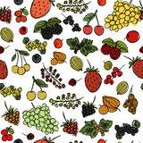 Seamless texture with the image of children`s drawings of berries drawn quickly by hand vector illustration