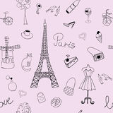 Seamless texture with the image of the Eiffel Tower and other items depicting France Stock Photos