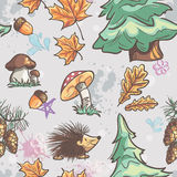 Seamless texture with the image of funny little animals, trees, fungi Stock Photo