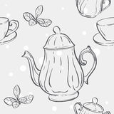 Seamless texture with the image of the tea set and tea leaves Royalty Free Stock Photography