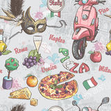 Seamless texture on italy. With a picture of food, fruit, wine, carnival masks and other.  Stock Photography