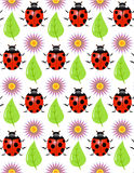 Seamless texture - a ladybird, leaf, flower Royalty Free Stock Image