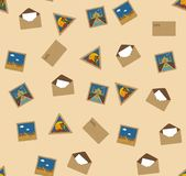 Seamless texture with landmark postal stamps Stock Image