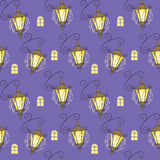 Seamless texture lanterns on purple background. Vector seamless pattern with vintage street lanterns on a purple background with glowing windows Stock Photography