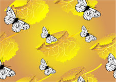 Seamless texture of leaves and butterfly Stock Photo