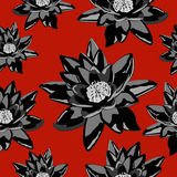 Seamless texture of lily flowers in black on a red background Stock Photo