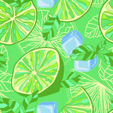 Seamless texture with lime, mint and ice Stock Photography