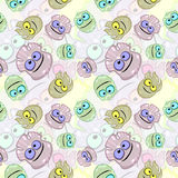 Seamless texture with little monsters or germs Royalty Free Stock Photo