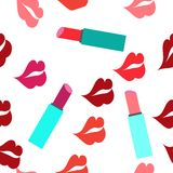 Seamless texture with a lot of color lips prints. This is  illustration Stock Image