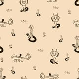 Seamless texture of lovely catsΠRoyalty Free Stock Images
