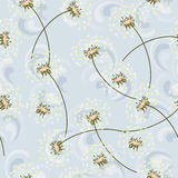 Seamless texture made of dandelions and wind waves Royalty Free Stock Photo