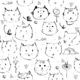 Seamless texture made with ink cats faces, drawn freehand with liquid dye, emotional, funny, funky, black and white. Vector illust Stock Photo
