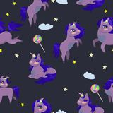 Seamless texture with magic unicorns and lollipops vector image vector illustration