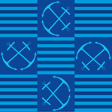 Seamless texture marine motif with anchor. On blue background royalty free illustration