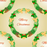 Seamless texture Merry Christmas wreath with pinecones  holly and yew vector Royalty Free Stock Images