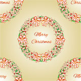 Seamless texture Merry Christmas Wreath with white ribbons and poinsettia vector Stock Photo
