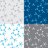 Seamless vector texture with molecules - set Royalty Free Stock Image