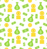 Seamless Texture with Money Bag Stock Images