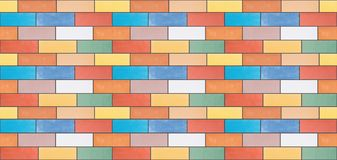 A seamless texture from multi-colored ceramic bricks. Made in a wall, illustration vector illustration