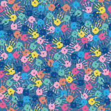 Seamless texture with multi-colored hand prints on a gray backgr. Seamless texture with a multi-colored hand prints on a gray background Stock Image