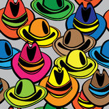 Seamless texture multicolor male hat Stock Photos