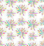 Seamless Texture with Multicolored Firework for Holiday. Illustration Seamless Texture with Multicolored Firework for Holiday - Vector Stock Image