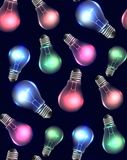 Seamless texture with multicolored light bulbs on a dark background. Garland. Vector pattern for your creativity Stock Photos